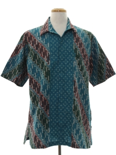 1990's Mens Hippie Ethnic Sport Shirt