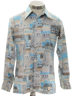 1970's Mens/Boys Print Disco Shirt