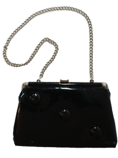 1960's Womens Accessories - Mod Patent Leather Clutch Purse