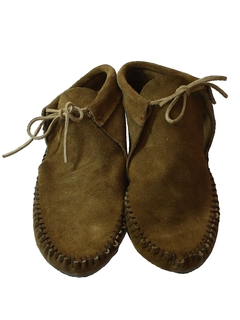 1980's Womens Accessories - Leather Moccasin Hippie Shoes