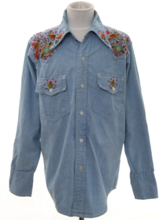 1970's Mens Embroidered Chambray Hippie Western Shirt
