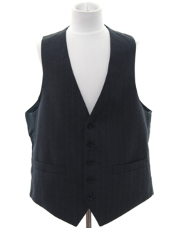 1980's Mens Pinstriped Wool Suit Vest