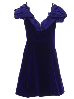 1980's Womens or Girls Totally 80s Velvet Prom Or Cocktail Mini Dress