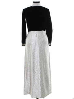1960's Womens Mod Velvet Cocktail Maxi Dress