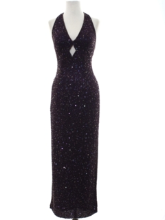 1990's Womens Wicked 90s Beaded Prom or Cocktail Maxi Dress