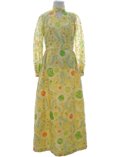 1960's Womens Mod Prom Or Cocktail Maxi Dress