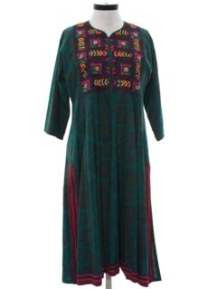 1970's Womens Ethnic Hippie A-Line Dress