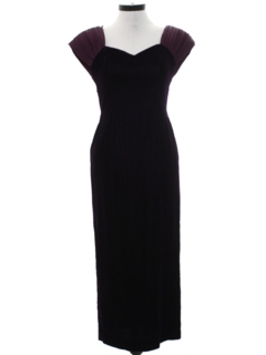 1990's Womens Wicked 90s Velvet Prom Or Cocktail Maxi Dress
