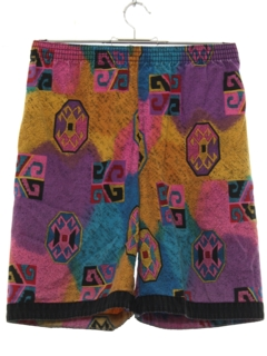 1980's Mens Totally 80s Print Baggy Print Shorts