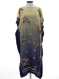 1980's Womens Caftan Hippie Style Dress