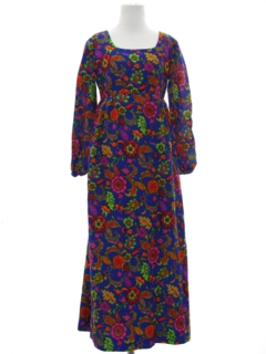 1970's Womens Pow-Flower Hippie Maxi Dress