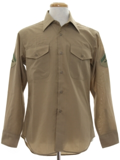 1970's Mens Military US Army Uniform Shirt