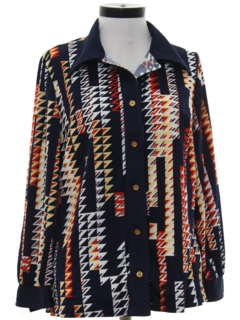 1970's Womens Knit Leisure Style Shirt-jac Shirt