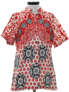 1960's Womens Mod Asian Inspired Print Shirt