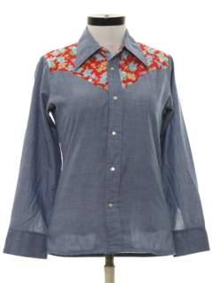 1970's Womens Western Chambray Hippie Shirt