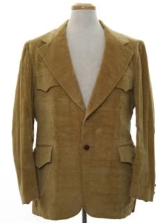1970's Mens Western Style Corduroy Blazer Sport Coat Jacket