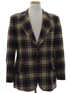 1970's Mens Plaid Wool Blazer Sport Coat Jacket