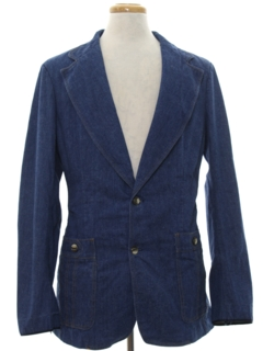 1970's Mens Denim Disco Blazer Sport Coat Jacket