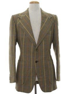 1970's Mens Designer Wool Blazer Disco Style Sport Coat Jacket