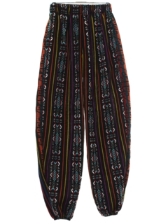 1980's Mens Baggy Guatemalan Pineapple Express Style Print Hippie Pants