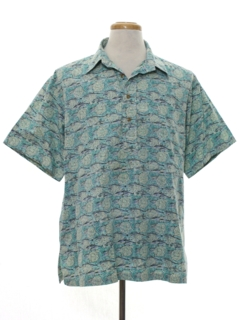 1980's Mens Reverse Print Hawaiian Shirt