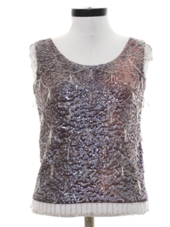 1960's Womens Mod Beaded Sequined Cocktail Shirt