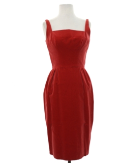 1960's Womens Designer Velveteen Cocktail Dress
