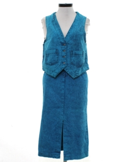 1980's Womens Totally 80s Acid Washed  Denim Skirt Suit