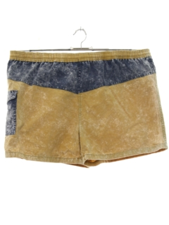 1980's Mens Totally 80s Acid Washed Swim Shorts