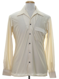 1970's Mens Shiny Nylon Solid Disco Shirt