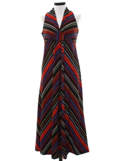 1970's Womens Mod Maxi A-Line Halter Dress