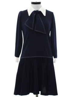 1970's Womens Mod Knit A-Line Secretary Dress