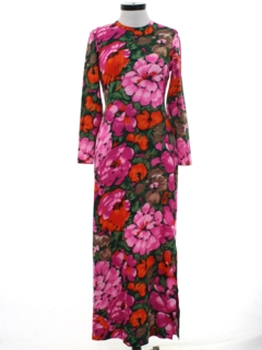 1970's Womens Mod Hawaiian Style Maxi Dress