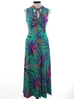 1970's Womens or Girls Print Maxi Dress