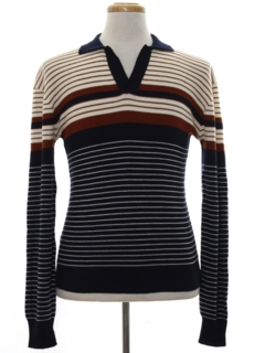 1980's Mens Mod Knit Shirt