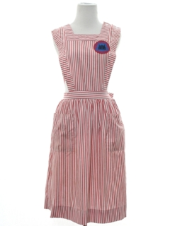 1970's Womens Uniform Candy Striper Jumper Dress