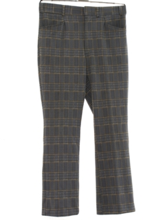 1970's Mens Flared Plaid Leisure Pants