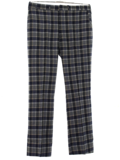 1970's Mens Wool Flared Plaid Flat Front Slacks Pants