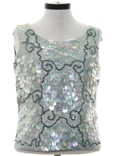 1960's Womens Beaded And Sequined Cocktail Shirt