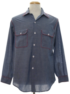 1970's Mens Embroidered Chambray Hippie Work Shirt