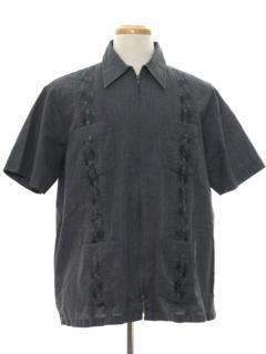 1980's Mens Zip Front Guayabera Shirt