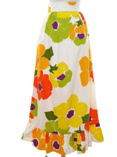 1970's Womens Mod Hawaiian Maxi Skirt