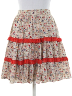 1960's Womens Square Dance Mini Skirt