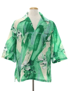 1970's Mens Resort Wear Print Disco Hawaiian Style  Shirt