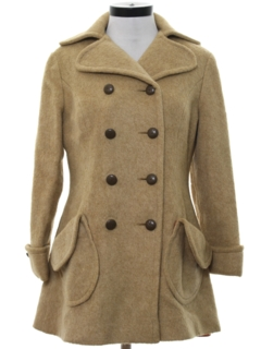 1960's Womens Mod Wool Double Breasted Coat Jacket