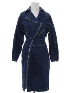 1980's Womens Totally 80s Style Denim Dress