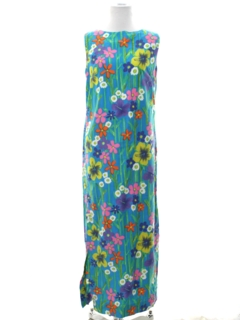1960's Womens Mod Hawaiian Maxi Shift Dress