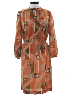 1970's Womens Print Disco Dress