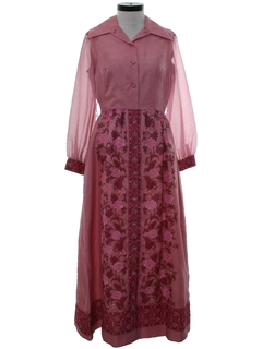 1970's Womens Designer Hawaiian Maxi Dress