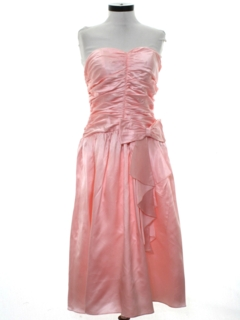 1980's Womens Pretty in Pink Style Totally 80s Prom Or Cocktail Dress